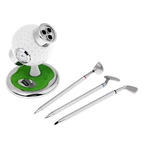 perfeclan 3 Stücke Golf Stifte Mit Golfball Ständer \u0026 Eine Uhr Montiert, Büro Desktop Bleistifthalter, Golf Souvenirs Neuheit Geschenke Für Golfer Fans Mit - Weiß -