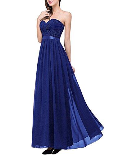 Azbro Women's Sweetheart Strapless Evening Chiffon Dress Royal Blue