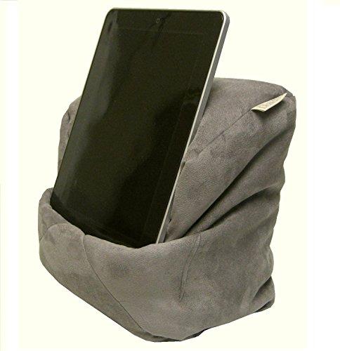 Mikrofaser-wildleder (LESEfit soft antirutsch Lesekissen, Tablet Kissen, echter Sitzsack für iPad * Bücher & eBook-Reader, elastan-frei für Bett & Couch / grau)