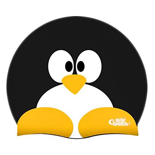 HeySplash Kinder Badekappe, Silikon Wasserdichte Badekappe mit hohen Elastizität für Kinder Jungen & Mädchen - Schwarz Pinguin