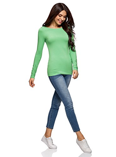 oodji Collection Donna T-Shirt con Maniche Lunghe (Pacco di 3) Verde (6500N)
