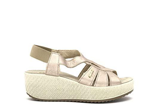 ENVAL SOFT Sandalo Comodo Donna con Zeppa 3291666 Champagne e190075 37