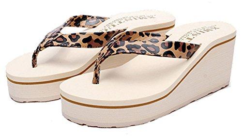 Good Night Moda similpelle Zeppa spiaggia sandalo infradito leopardo