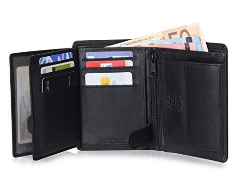 Schlichte Echtleder Geldbörse mit RFID Schutz, 15 Kartenfächern und geräumigem Münzfach im Hochformat, Schwarz