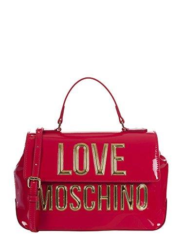 LOVE MOSCHINO, borsa donna, a mano, vernice, fucsia, lettere dorate, JC4281PP03