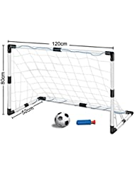 Inside Out Toys 26-YI4E-HAQM-1 Childrens, Kids Football Goal Set, Size 1.2 metre Wide x 0.8 metre Tall, One Goal with Net and Ball Size - White