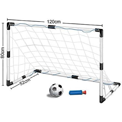 Set de portería de fútbol para niños - Con 1 portería, redes y balón - 120 cm x 80 cm