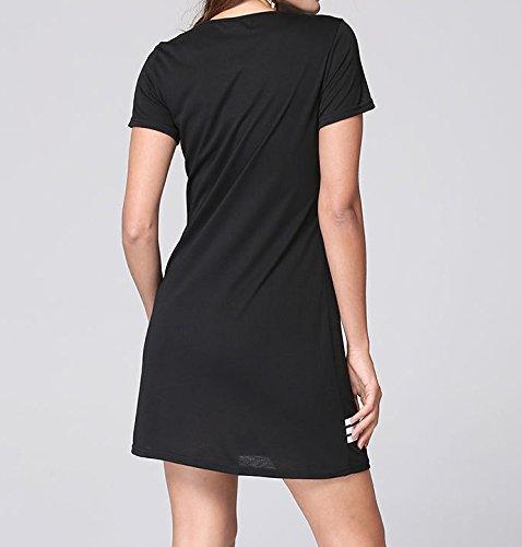 Smile YKK Femme T-shirt Tops Longue Slim Imprimé Mots Noir