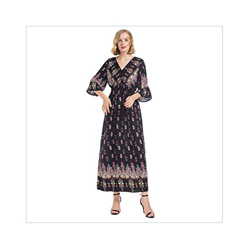 2019 Women National Style V-Neck Positioning Print Trumpet Sleeves Long Dress Summer Vintage Loose Dress for Women Black L