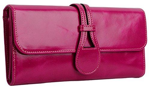 tleder YALUXE RFID Blocking Sicherheit Trifold Wallet Ladies Clutch Rosa ()