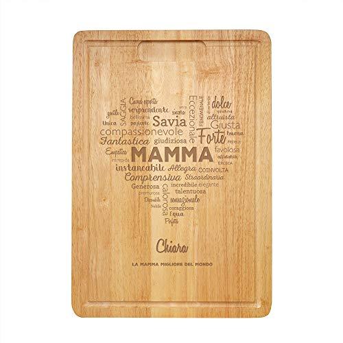 Tagliere da cucina in legno con incisione - cuore di parole per la mamma - personalizzato con [nome] - accessori per la casa - spuntini - idea regalo originale per la mamma - festa della mamma