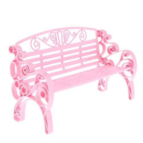 B Blesiya Puppenmöbel Wohnzimmer Mini Langer Stuhl Gartenbank Parkbank Modell für 1/6 Puppenhaus Dekoration - Rosa