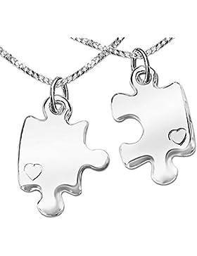 CLEVER SCHMUCK-SET 2 Silberne geteilte Freundschaftsanhänger Puzzleteile 22 mm hochglänzend poliert mit je einem...
