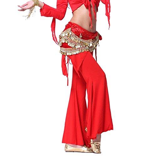 Danse du ventre costume Hip écharpe jupe Hip écharpe With 3 Rangées Coins Velvet Foulard Costume red