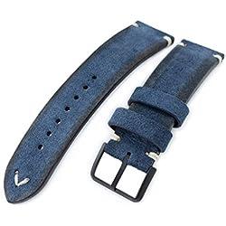 21mm MiLTAT Navy Blue Genuine Nubuck Leather Watch Strap, Beige Stitching, PVD Buckle