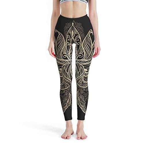 O2ECH-8 Damen Patternen Yoga Leggings 4-Wege-Stretch-Kompression Slimming Schwarzes Goldenes Mandala Sporthöse Yoga Enge Leggings Damen –