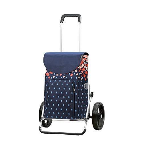Andersen Einkaufstrolley Royal XXL klappbar mit 3-Speichenrad 25 cm und 41 Liter Einkaufstasche Lily mit Kühlfach blau/orange