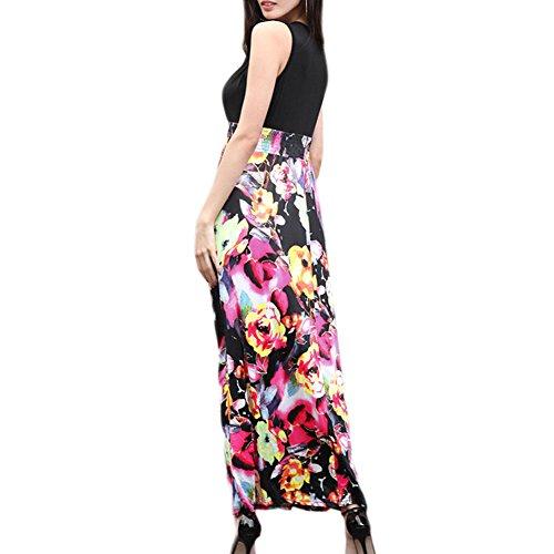 Meijunter Kleid Ärmellos Tiefer V-Ausschnitt Kleider Damen Elegant Stitching Hohe Taille Drucken Langer Rock Rose Rot
