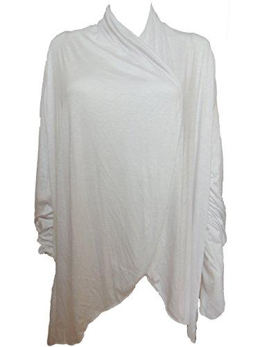 10 Farben Lange Damen Jacke, Gr. 42 44 46 48 50 52 54 (Weiß)