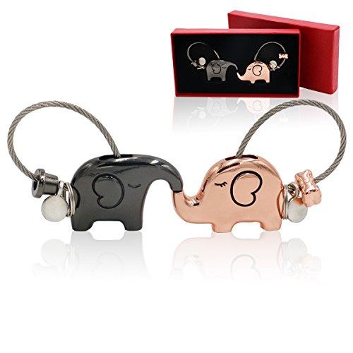 Schlüsselanhänger [2 Stück] Ein Paar küssender Elefant Schlüsselbänder Glücksbringer kleeblatt Tier Schlüsselring