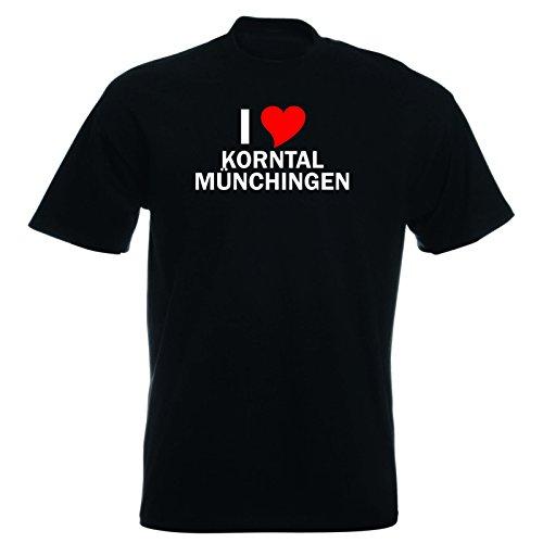 T-Shirt mit Städtenamen - i Love Korntal-Münchingen - Herren - unisex Schwarz
