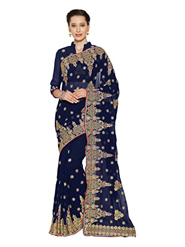 SOURBH Women's Heavy Embroidered Wedding Bridal Saree with blouse piece (3793_Navy Blue)