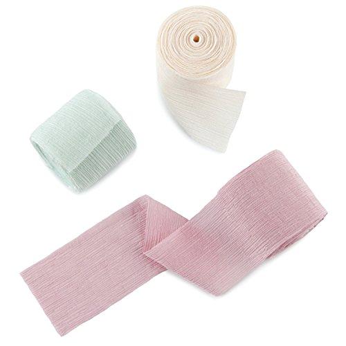 Ruspepa nastro di seta tipo chiffon - 3 rotoli (rosa + avorio + schiuma di mare verde) - 50 mm x 6 yard ogni rotolo, nastri per decorazioni di nozze, mazzi, confezioni regalo