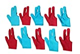 #10: Billiedge 10x (Sky Blue 5 & Red 5 ) 3 finger Billiards Snooker and Pool Gloves