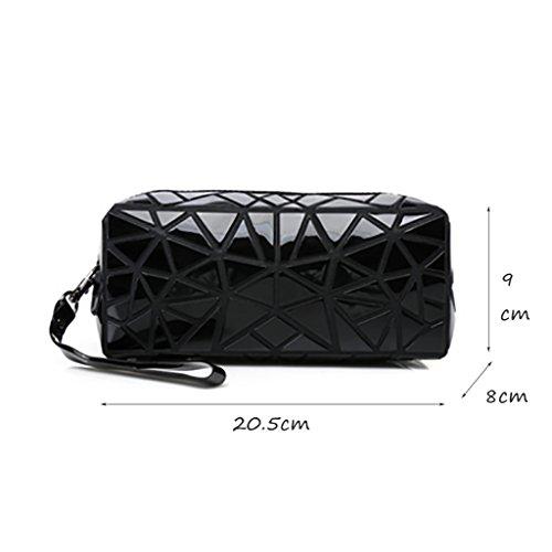 CLOTHES- Sacchetto cosmetico di Geometry Sacchetto di immagazzinaggio portatile Borsa di viaggio Sacchetti di spazzola di rossetto dellemulsione di acqua ( Colore : Blu ) Nero