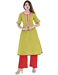 Palakh Women's Cotton Light Green A-line Embroidered Kurti With Red Palazzo