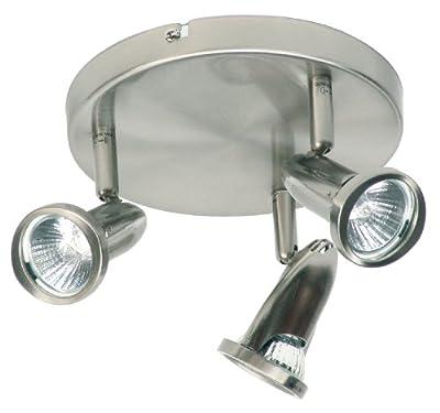 Ranex Innovatore BYRRX2686 Surface Mounted Brushed Steel Trio Plate Spotlight, 130 x 190 x 190mm, 3x GU10/50W Bulbs Included