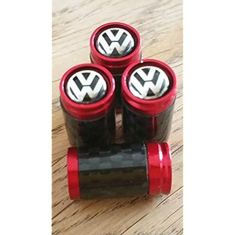 VW Volkswagen Negro Top Rojo y fibra de carbono válvula de rueda Dust Caps Exclusivo Para US POLO de hasta Beetle Golf GTE Jetta scircco Touran Passat Tiguan Sharan Touareg XL1