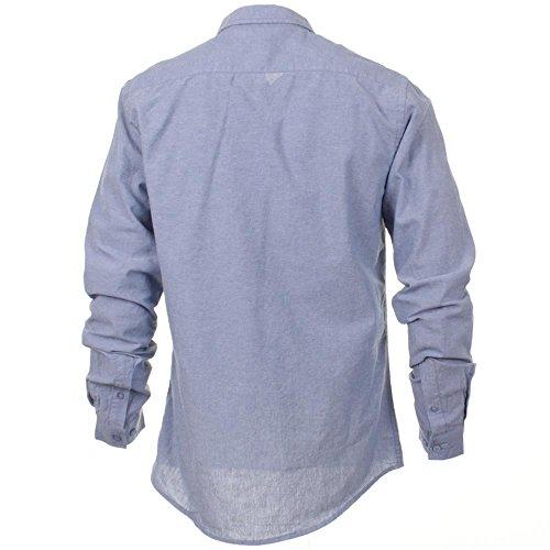 Firetrap à manches longues pour homme avec Trucho Chemise Chambray Bleu - Bleu