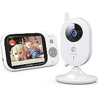 """Victure Babyphone Caméra Moniteur bébé 3.2"""" LCD Couleur Vidéo Bébé Surveillance 2.4GHz Transmission, Vision Nocturne, Communication Bidirectionnel, Capteur de Température, VOX, Berceuses, Rechargeable"""