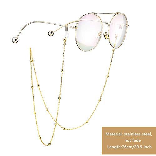 ASAPCHIC Brillenkette aus Edelstahl mit Perlen, Sonnenbrillenkette, Brillenkette, Schnur, Schnur, Halsband für Damen (Gold und Silber) 2 Stück M color23