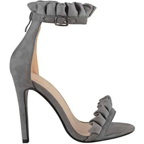 Miss Image UK Nuovo da Donna Alto Tacco a Spillo Barely There a Balze fronzoli Caviglia Fascia Party Sandali Scarpe Numero Grigio Finto Scamosciato