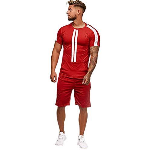 Tank Pj Set (MakefortuneHerren Pyjama Set, Herren Baumwolle Set Sommer Loungewear Sport Outfit Kurzarm gestreifte Nachtwäsche und Top PJ's Set)