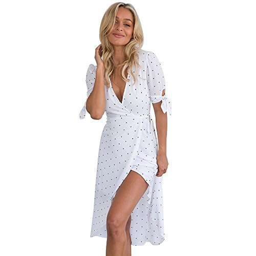 OYSOHE Dame Vogue Unifarben Kleid, Neueste Frauen V-Ausschnitt Kurzarm Boho Long Maxi Polka Dot Abendkleid (XL, Weiß)