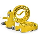 Aventus Aldi Medion Lifetab S10345 10.1 Gelb Twin-Port USB-Minigewehrkugel in KFZ-Ladegerät Inklusive 2 Micro-USB-Datenübertragung/Ladekabel