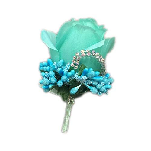 henyangsh 1 Stück Rot Best Man Corsage für Bräutigam, Bräutigam, Rose, Blumen, Hochzeitsanzug, Anstecknadel, Brosche Dekoration Tiffany Blue