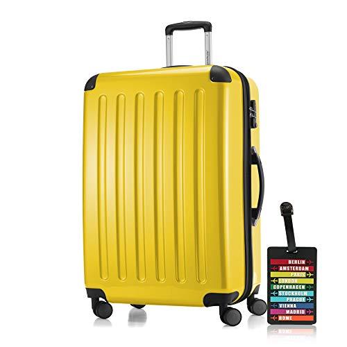 lex Hartschalen-Koffer-XL Koffer Trolley Rollkoffer Reisekoffer Erweiterbar, 4 Rollen, TSA, 75 cm, 119 Liter, Gelb +Design Kofferanhänger ()
