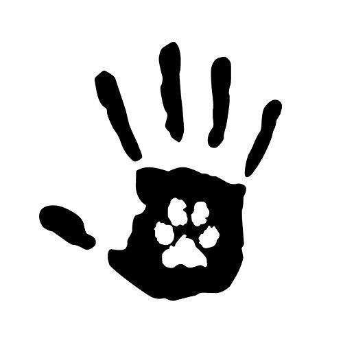 Dandeliondeme Creative Hand Print mit Hund Katze Haustier Pfotenabdruck Rettungswagen Aufkleber Dekor für Notebook Skateboard Snowboard Gepäck Gepäck MacBook Auto Fahrrad Stoßstange Schwarz