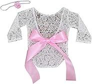 RONSHIN Stylish Clothing 2pcs/set Baby Photography Props Newborn Girl Lace Romper + Floral Headband Set Pink N