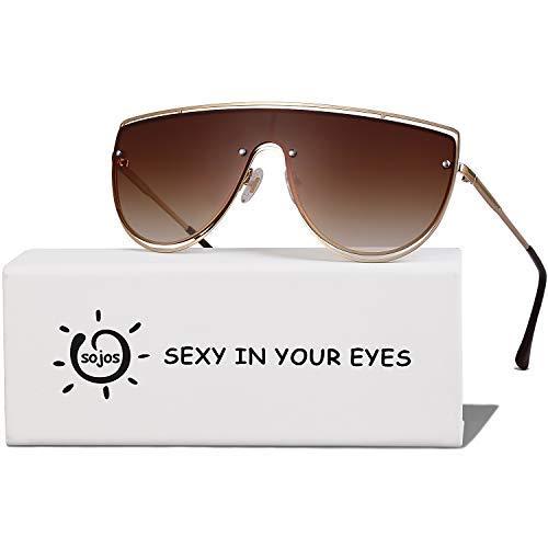 SOJOS Handgemacht Rostfreier Sathl Galvanotechnik Kein Nickel Mode Sonnenbrille für Damen Fashion Neues Modell SJ1098 mit Gold Rahmen/Verlauf Braun Linse