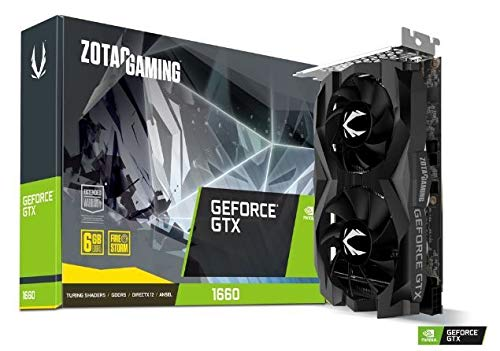 ZOTAC GAMING GeForce GTX 1660 Twin Fan Grafikkarte (NVIDIA GTX 1660, 6GB GDDDR5, 192bit, Boost-Takt 1785MHz, 8Gbps) (Grafikkarten-gaming)