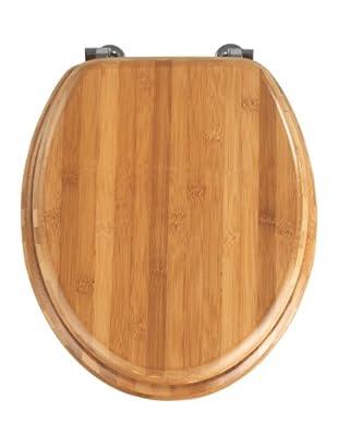 Wenko Bambus WC-Sitz (Dunkelbraun) - Chrom-Metallbefestigung, 37 x 42.5 cm