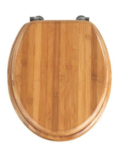 Wenko 144726100 WC-Sitz Bambus Dunkel – chrom-Metallbefestigung, Bambus, 37 x 42,5 cm, dunkelbraun