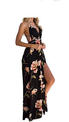 MAGICMK Femmes Robe de Soirée Fleur Robe de Soirée (Rose Noir, XL)