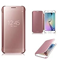 Connect Zone® Rose Gold Luxury Mirror Smart Clear View Flip Hard Back Case For Samsung Galaxy S7 Edge (SM-G935)