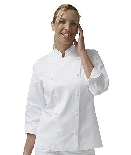 """SIGGI - Giacca cuoca """"Emma"""" in cotone 100% drill sanfor colore bianco. Peso al mq. gr. 190 - Taglia: XXXL"""